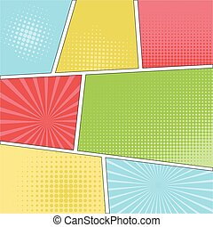 Comics popart style blank layout template, excellent vector...