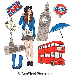 Girl and vector elements of London such as Big Ben, bus,...
