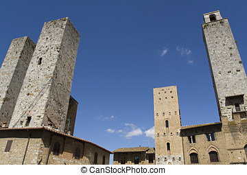 San Gimignano tall towers in Tuscany