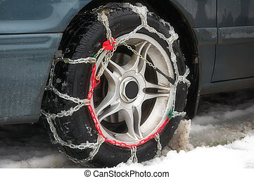 winter chains of anti-skid on a motor-car wheel