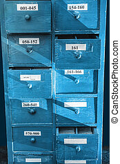 Drawer with business papers organized in archive