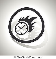 Burning clock sign sticker, curved, with outlining and...