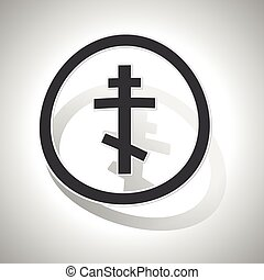 Orthodox cross sign sticker, curved, with outlining and...