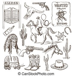 Hand drawn Wild West Collection with revolvers, skull,...