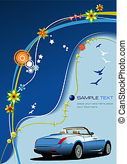 Blue business background with car image. Vector illustration