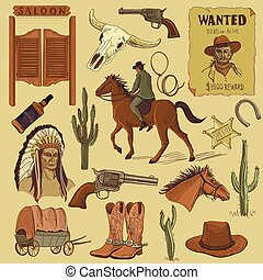 Hand drawn Wild West icons set with revolvers, skull, injun,...