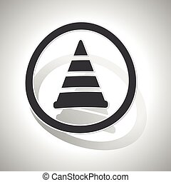 Traffic cone sign sticker, curved, with outlining and shadow