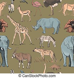 Seamless animal planet pattern with giraffe, lioness, hyena,...