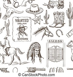 Wild West hand drawn seamless pattern with revolvers, skull,...