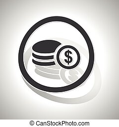 Dollar rouleau sign sticker, curved, with outlining and...