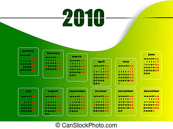 Calendar 2010 with American holidays. Months. Vector illustration