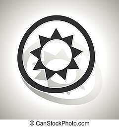 Sun sign sticker, curved, with outlining and shadow