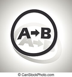 A-B logic sign sticker, curved, with outlining and shadow