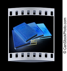 The stack of books The film strip - The stack of books on a...
