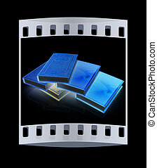 The stack of books. The film strip - The stack of books on a...