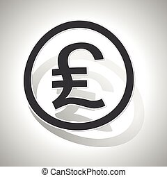 Pound sterling sign sticker, curved, with outlining and...