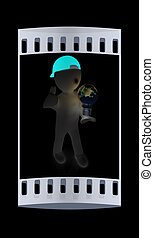 3d man with light bulb The film strip - 3d man with light...