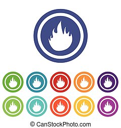 Fire signs colored set - Fire signs set, on colored circles,...