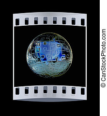 Puzzle abstract sphere The film strip - Puzzle abstract...