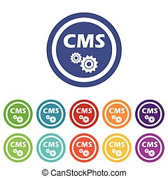CMS settings signs colored set - CMS settings signs set, on...