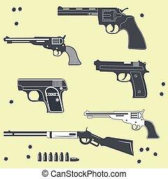 bala, Conjunto, armas de fuego, Colección