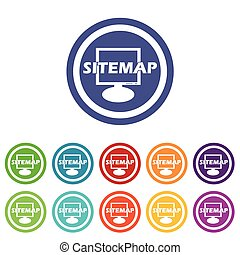 Sitemap signs colored set - Sitemap signs set, on colored...