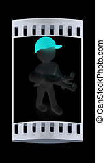 3d man with child. The film strip