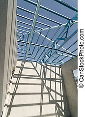 Steel Roof-18 - Structure of steel roof frame for...