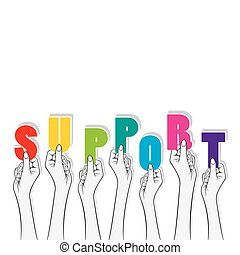 support banner concept design - support word hold in hand...