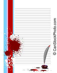 Blank letter with corner ribbon Ink pot, feather and blots. Vector illustration