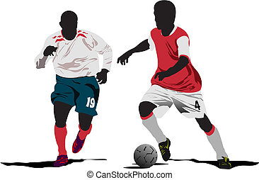 Soccer players. Vector illustration