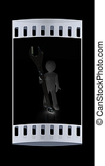 3d man - wrench in hands The film strip - 3d man - wrench in...