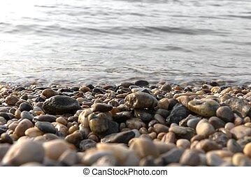 Sea polished rocks closeup
