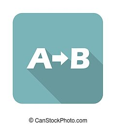 A-B logic icon, square, with long shadow, isolated on white