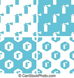Fire extinguisher patterns set, simple and hexagonal, blue...