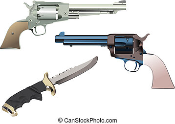 Revolvers and knife on isolated background Vector...
