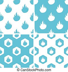 Flame patterns set, simple and hexagon, blue and white