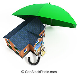 red umbrella protecting house from rain