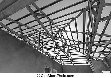 Steel Roof Black and White-12 - Structure of steel roof...