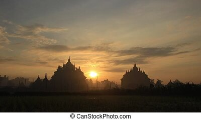 Twin Temple Sunrise Timelapse - Located near Prambanan,...