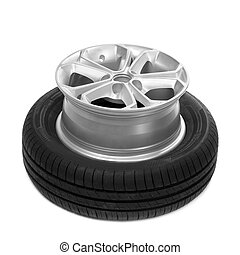 Wheel and tire for a car.