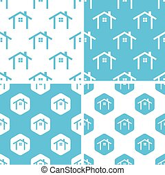 Cottage patterns set, simple and hexagon, blue and white