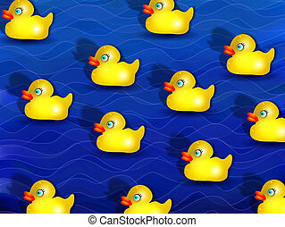 Yellow Rubber Duckies - Digital illustration of cartoon...