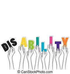disability banner design concept - disability word hold in...