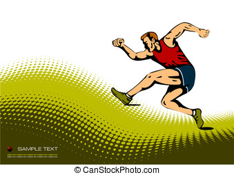 Abstract background with running man image. Vector...