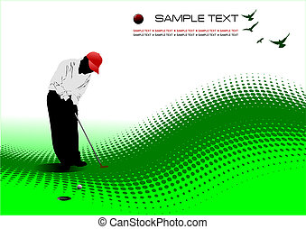 Golfer hitting ball with iron club. Colored vector...