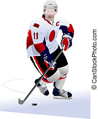 Ice hockey players. Colored Vector illustration for...