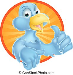Cartoon Bluebird - A cartoon bluebird bird character giving...