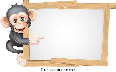 Cartoon Chimp Sign - Cute cartoon chimp monkey like...