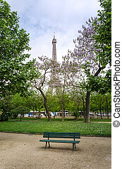 Eiffel Tower at Champ de Mars Park, Paris, France